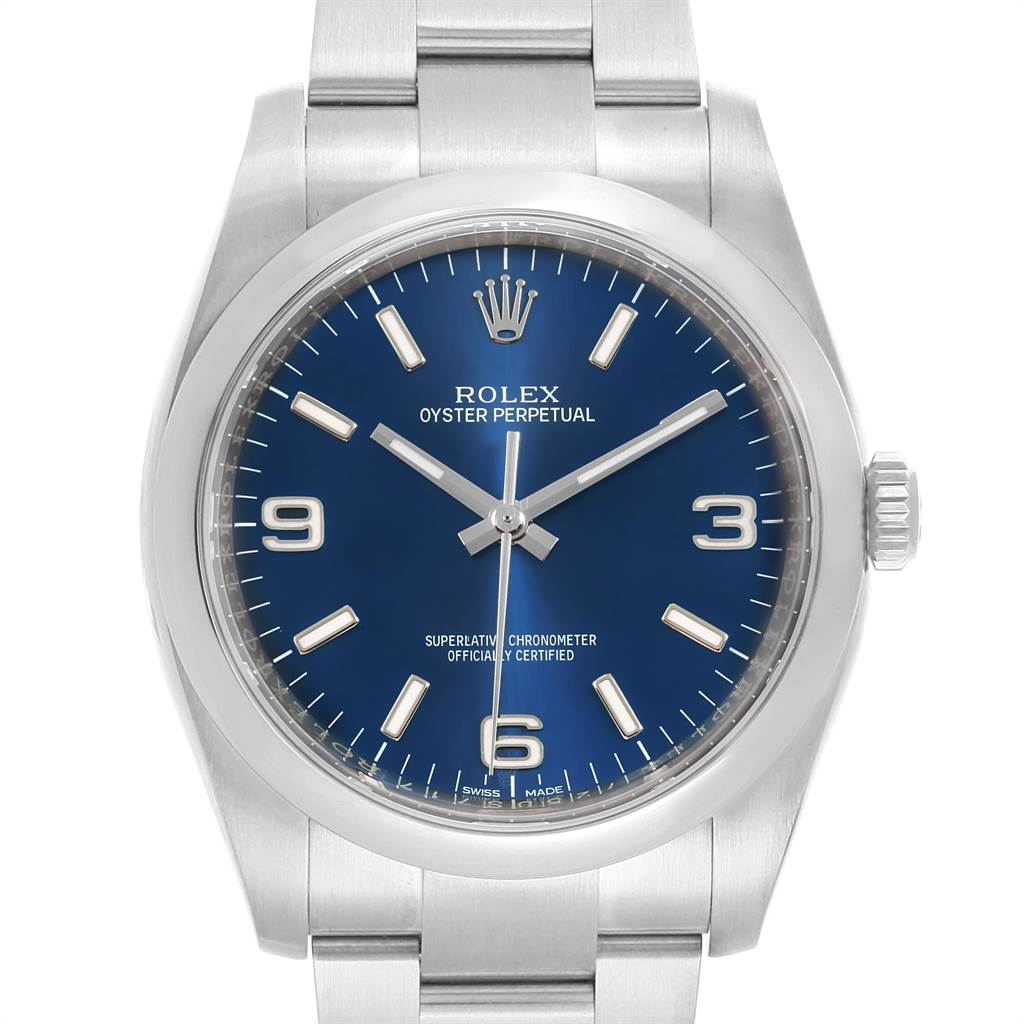 22048 Rolex Oyster Perpetual Blue Dial Domed Bezel Mens Watch 116000 SwissWatchExpo