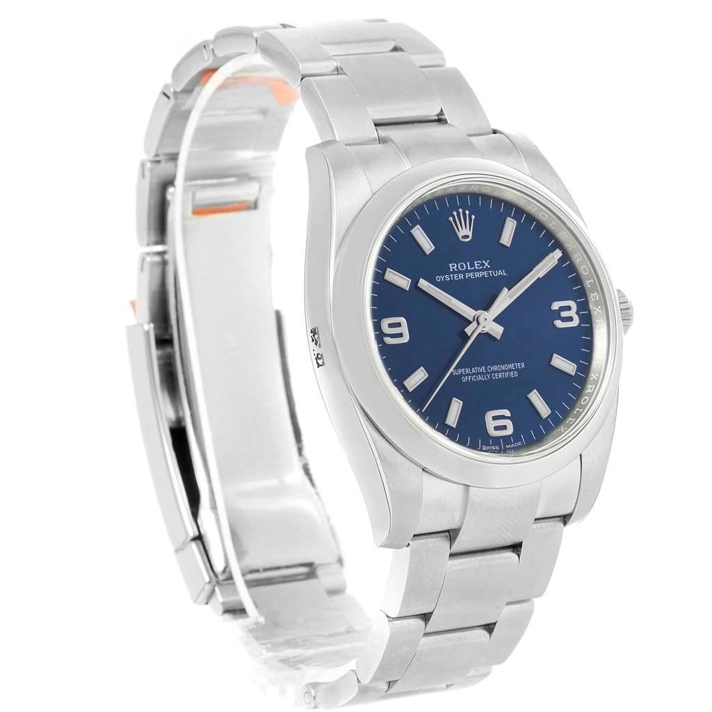 22551 Rolex Oyster Perpetual Blue Dial Steel Mens Watch 114200 Unworn SwissWatchExpo