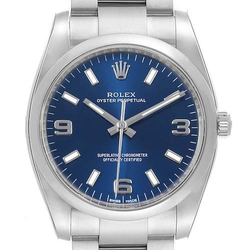 Photo of Rolex Oyster Perpetual Blue Dial Steel Mens Watch 114200 Unworn