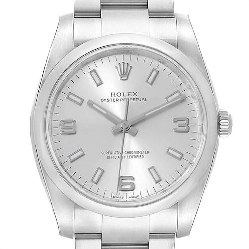 Photo of Rolex Oyster Perpetual Silver Dial Domed Bezel Mens Watch 114200 Unworn