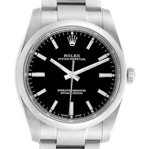 Photo of Rolex Oyster Perpetual 34mm Black Dial Steel Mens Watch 114200