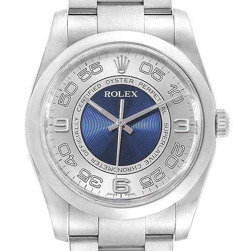Photo of Rolex Oyster Perpetual Silver Blue Concentric Dial Unisex Watch 116000