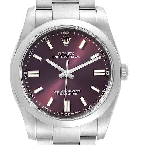 Photo of Rolex Oyster Perpetual 36 Red Grape Dial Mens Watch 116000