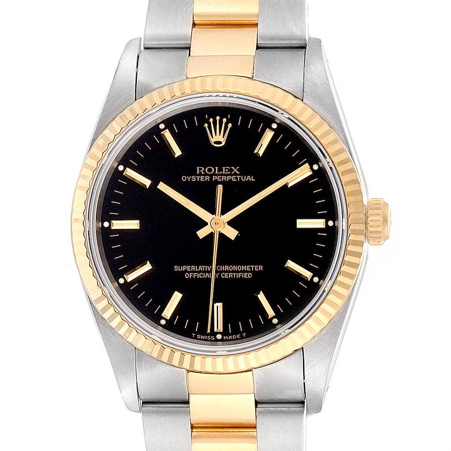 Rolex Oyster Perpetual Steel Yellow Gold Black Dial Mens Watch 14233 SwissWatchExpo