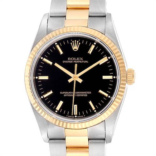 Photo of Rolex Oyster Perpetual Steel Yellow Gold Black Dial Mens Watch 14233