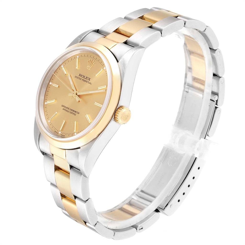 Rolex Oyster Perpetual Nondate Steel Yellow Gold Mens Watch 14203 SwissWatchExpo