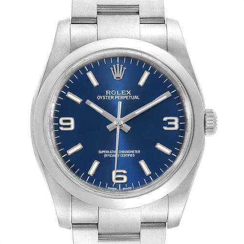 Photo of Rolex Oyster Perpetual 36 Blue Dial Steel Mens Watch 116000 Box Card