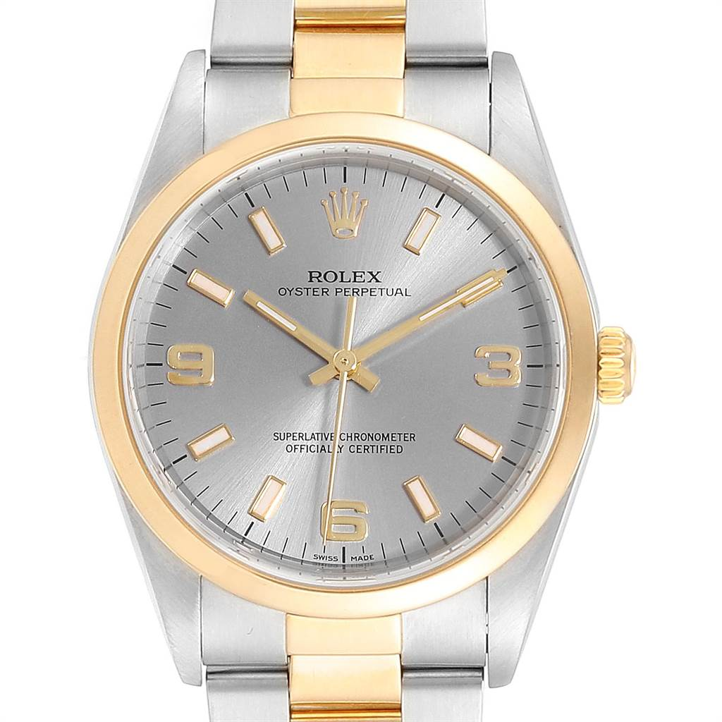 Rolex Oyster Perpetual Slate Dial Steel Yellow Gold Mens Watch 14203