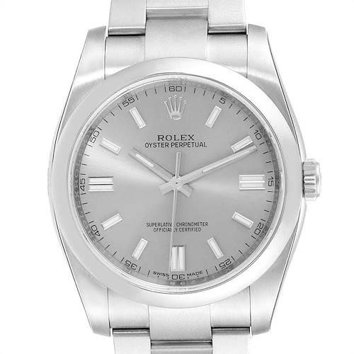 Photo of Rolex Oyster Perpetual Rhodium Dial Steel Mens Watch 116000 Unworn