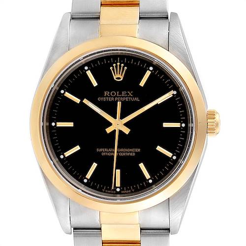 Photo of Rolex Oyster Perpetual Steel Yellow Gold Mens Watch 14203 Box Papers
