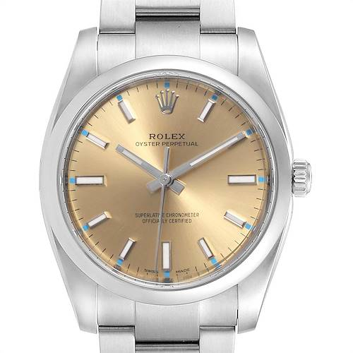 Photo of Rolex Oyster Perpetual 34mm White Grape Dial Steel Watch 114200 Unworn