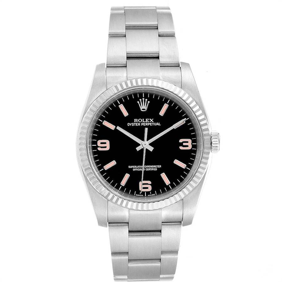 Rolex Oyster Perpetual Steel White Gold Black Dial Mens Watch 116034 SwissWatchExpo
