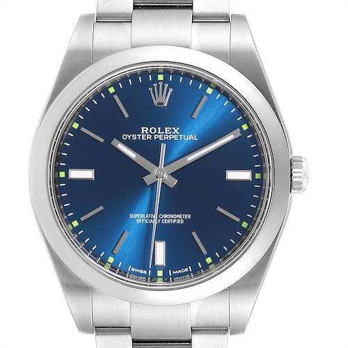 Photo of Rolex Oyster Perpetual 39 Blue Dial Steel Mens Watch 114300