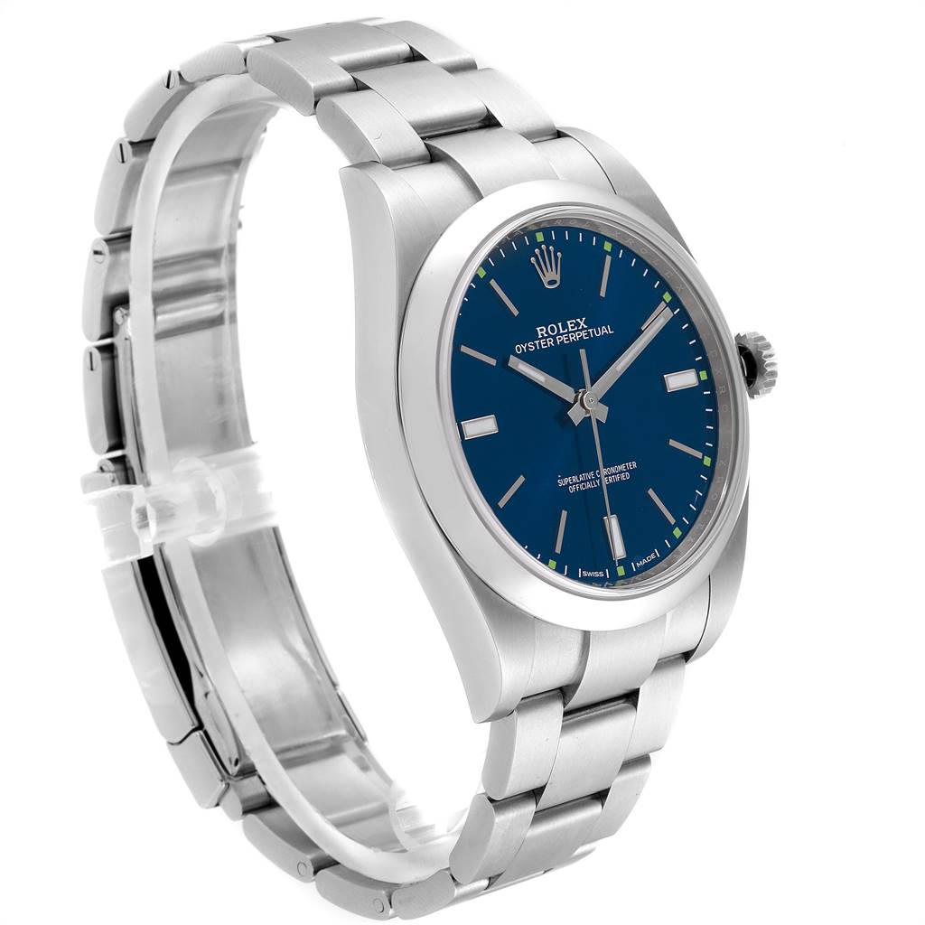 Rolex Oyster Perpetual 39 Blue Dial Steel Mens Watch 114300 SwissWatchExpo