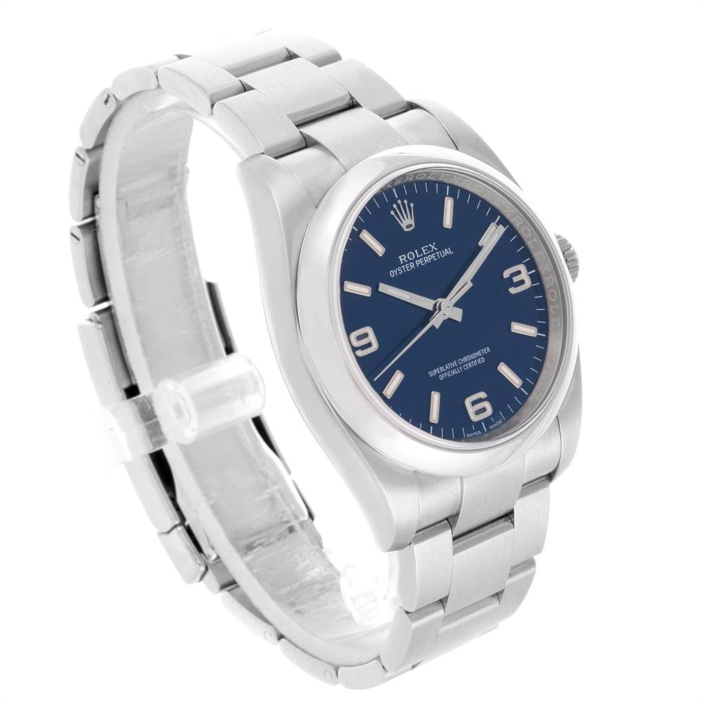 24295 Rolex Oyster Perpetual Blue Dial Domed Bezel Mens Watch 116000 SwissWatchExpo