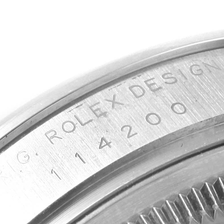 Rolex Oyster Perpetual 34 White Grape Dial Steel Mens Watch 114200 SwissWatchExpo