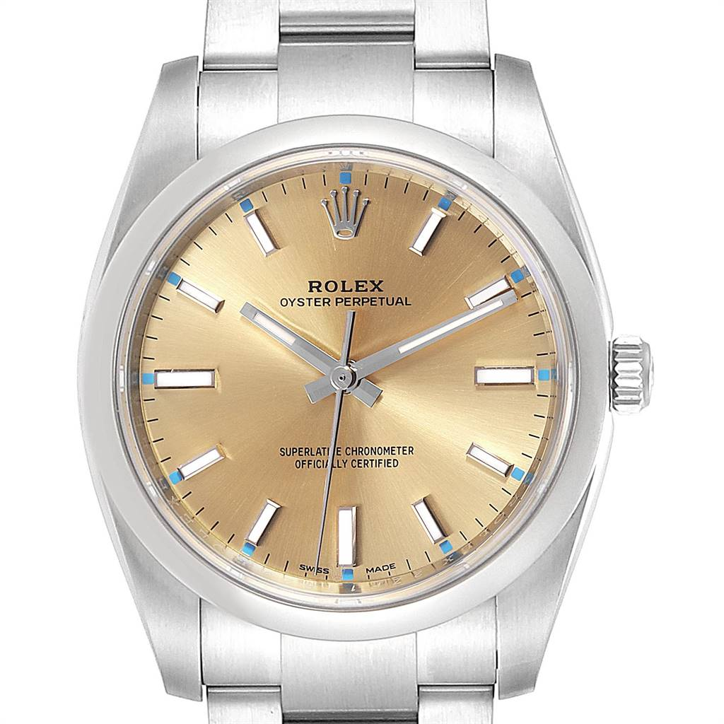 Rolex Oyster Perpetual 34 White Grape Dial Steel Mens Watch 114200