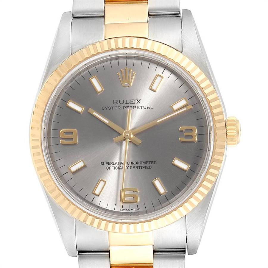 Rolex Oyster Perpetual Steel Yellow Gold Slate Dial Mens Watch 14233 SwissWatchExpo