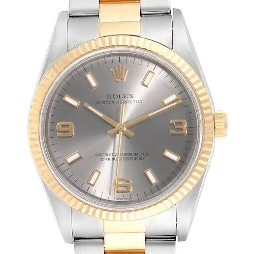 Photo of Rolex Oyster Perpetual Steel Yellow Gold Slate Dial Mens Watch 14233