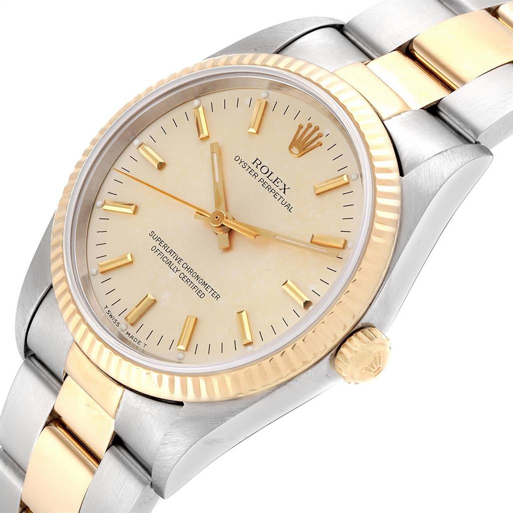 24861 Rolex Oyster Perpetual NonDate Steel 18k Yellow Gold Mens Watch 14233 SwissWatchExpo