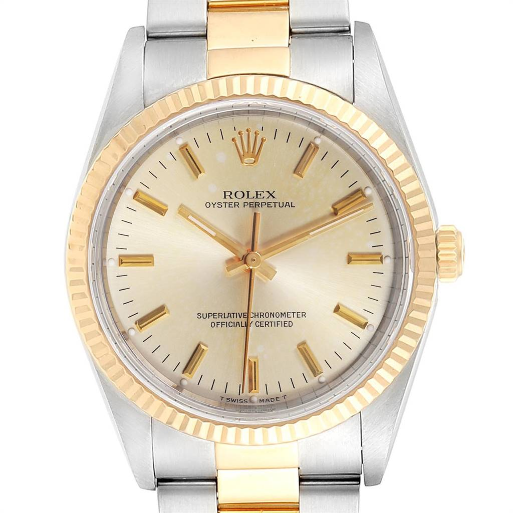 Rolex Oyster Perpetual NonDate Steel 18k Yellow Gold Mens Watch 14233