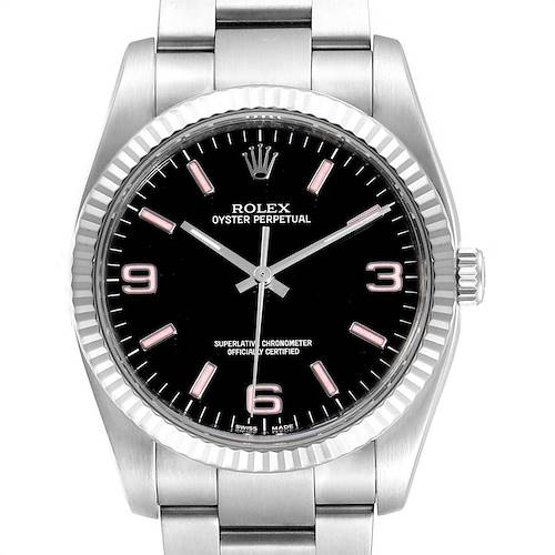 Photo of Rolex Oyster Perpetual Steel White Gold Black Dial Mens Watch 116034