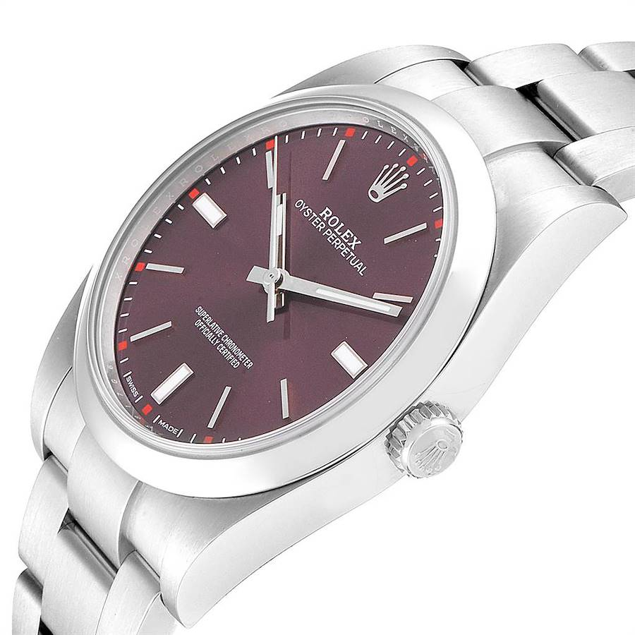 Rolex Oyster Perpetual Red Grape Dial Steel Mens Watch 114300 Box Card SwissWatchExpo
