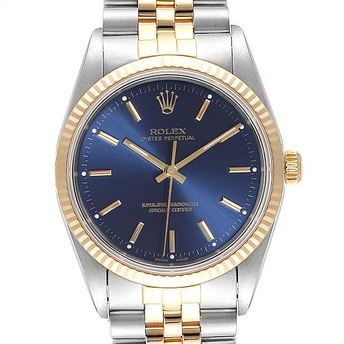 Photo of Rolex Oyster Perpetual Steel Yellow Gold Blue Dial Mens Watch 14233