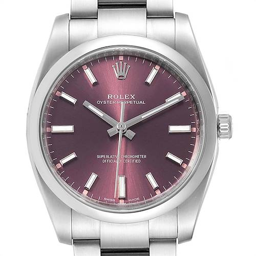 Photo of Rolex Oyster Perpetual 34mm Red Grape Dial Mens Watch 114200 Unworn