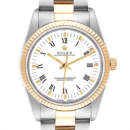 Photo of Rolex Oyster Perpetual NonDate Steel 18k Yellow Gold Mens Watch 14233