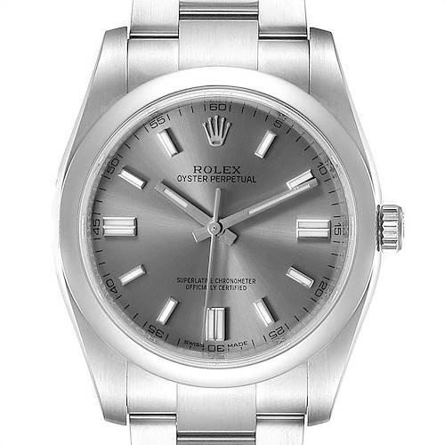 Photo of Rolex Oyster Perpetual Rhodium Dial Steel Mens Watch 116000 Box