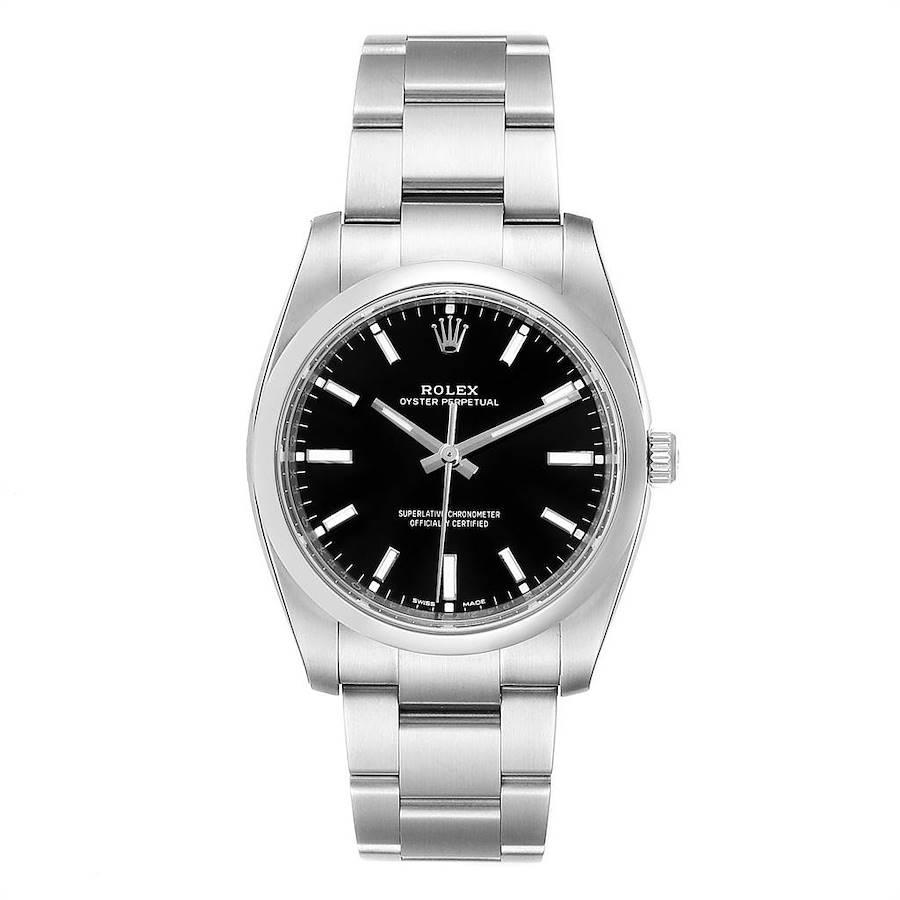 Rolex Oyster Perpetual Black Dial Steel Mens Watch 114200 Unworn SwissWatchExpo