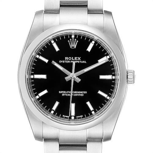Photo of Rolex Oyster Perpetual Black Dial Steel Mens Watch 114200 Unworn
