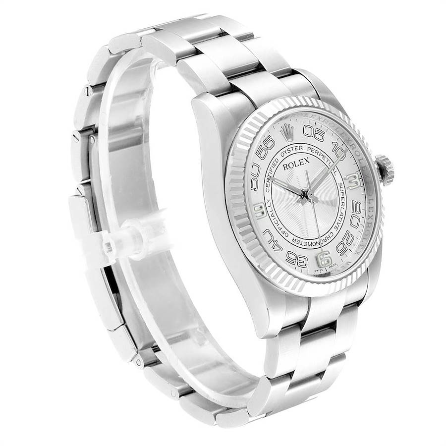 Rolex Oyster Perpetual Steel White Gold Silver Dial Mens Watch 116034 SwissWatchExpo