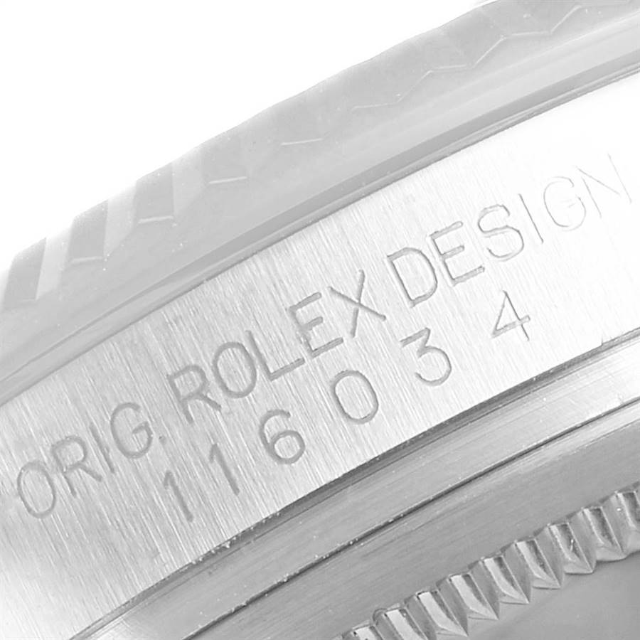 Rolex Oyster Perpetual Steel White Gold Black Dial Watch 116034 Box Card SwissWatchExpo