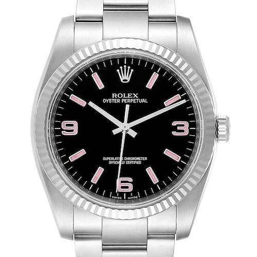 Photo of Rolex Oyster Perpetual Steel White Gold Black Dial Watch 116034 Box Card