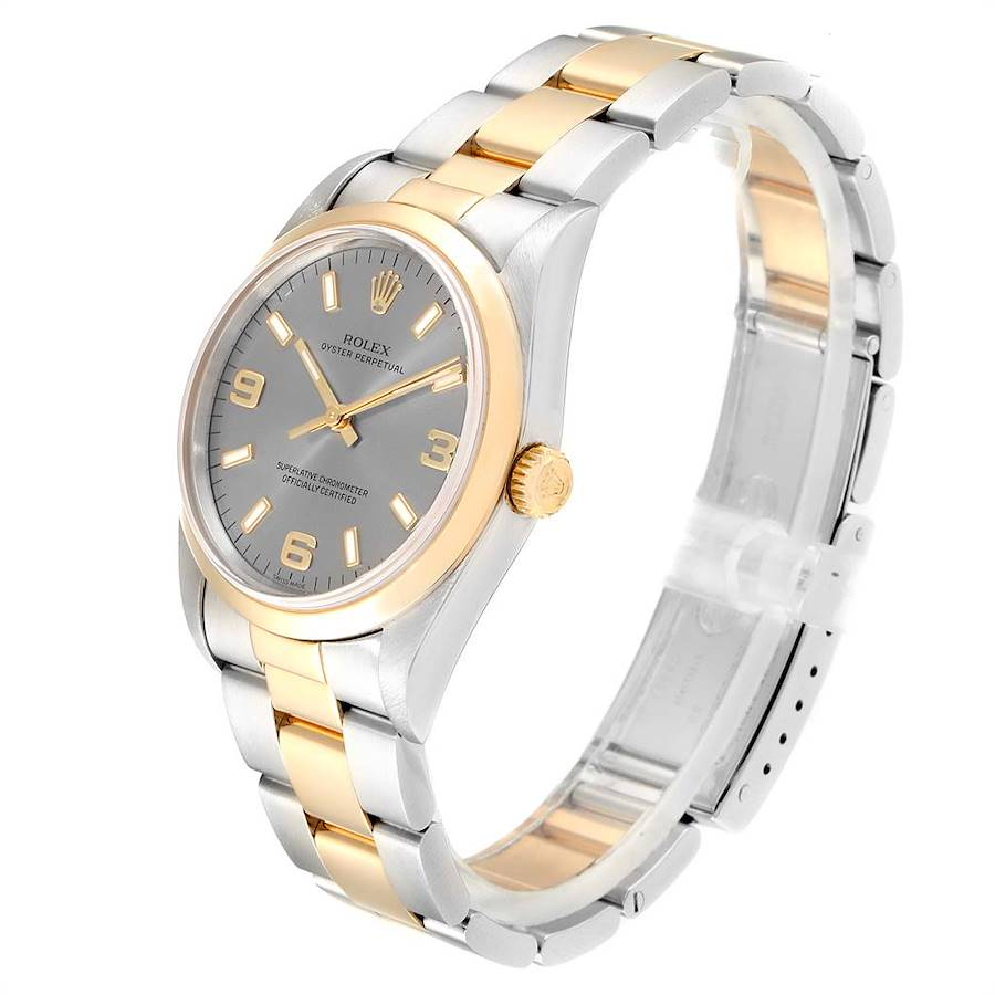 Rolex Oyster Perpetual Slate Dial Steel Yellow Gold Mens Watch 14203 SwissWatchExpo