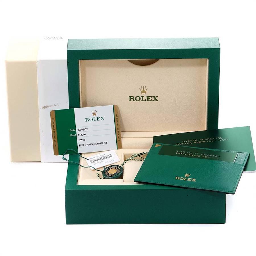 Rolex Oyster Perpetual Blue Dial Steel Mens Watch 114200 Unworn SwissWatchExpo