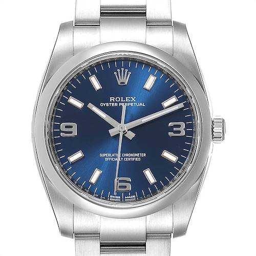 Photo of Rolex Oyster Perpetual Blue Dial Steel Mens Watch 114200 Unworn