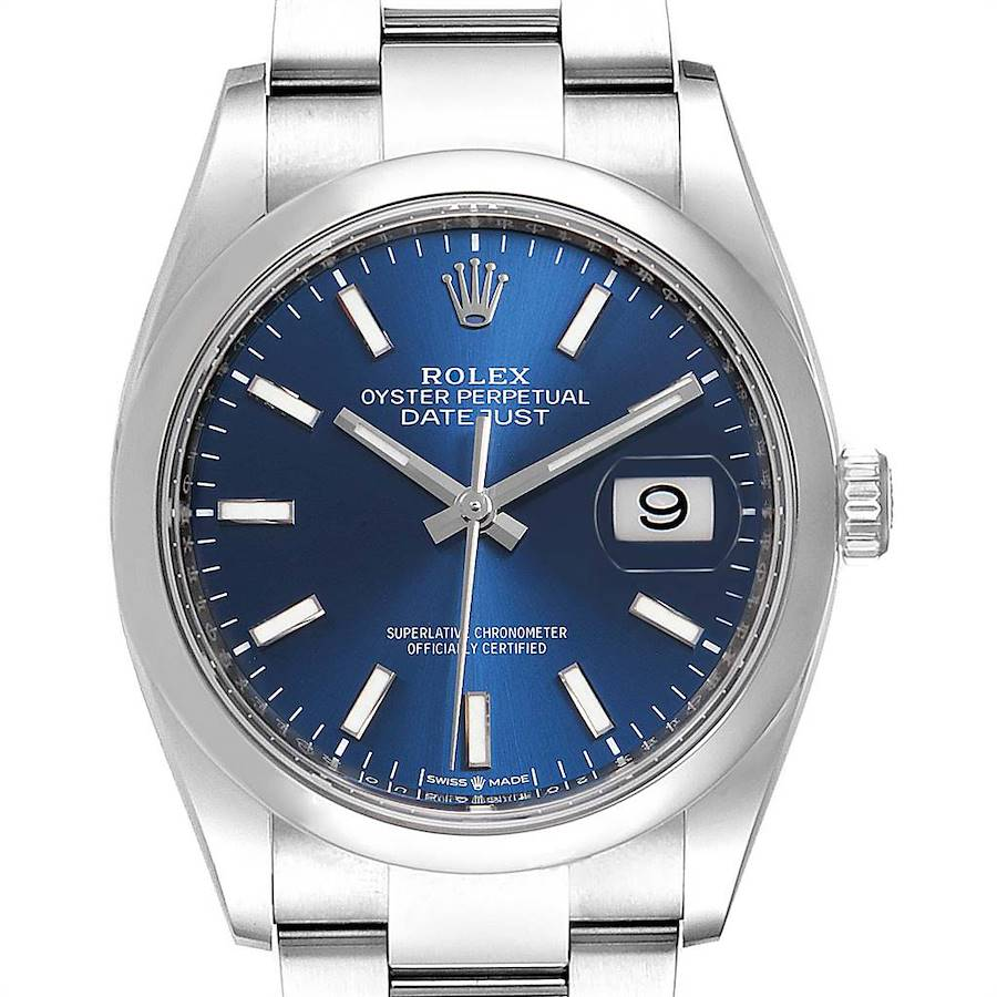 Rolex Datejust 36 Blue Dial Domed Bezel Steel Mens Watch 126200 Unworn SwissWatchExpo