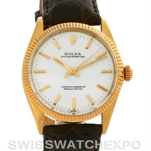 Photo of Vintage Rolex Oyster Perpetual 14K Yellow Gold White Index Dial