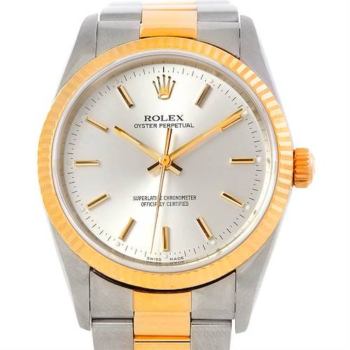 Photo of Rolex Non Date Mens Steel 18k Yellow Gold Watch 14233