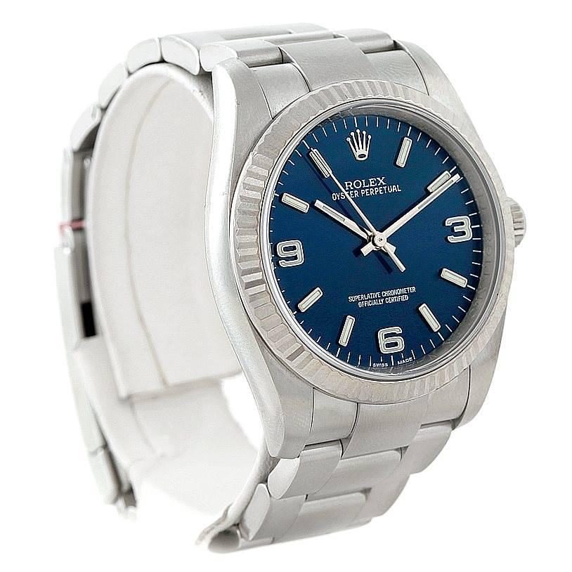 Rolex No Date Mens Steel 18K White Gold Watch 116034 Unworn SwissWatchExpo
