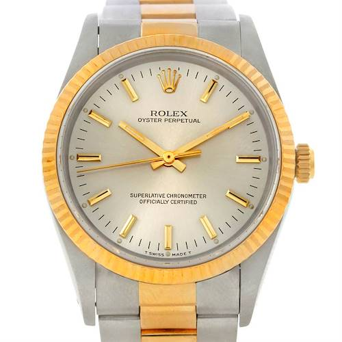 Photo of Rolex NonDate Mens Steel 18k Yellow Gold Watch 14233