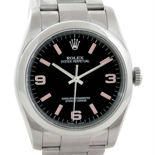 Photo of Rolex Oyster Perpetual Mens Black Dial Stainless Steel Watch 116000