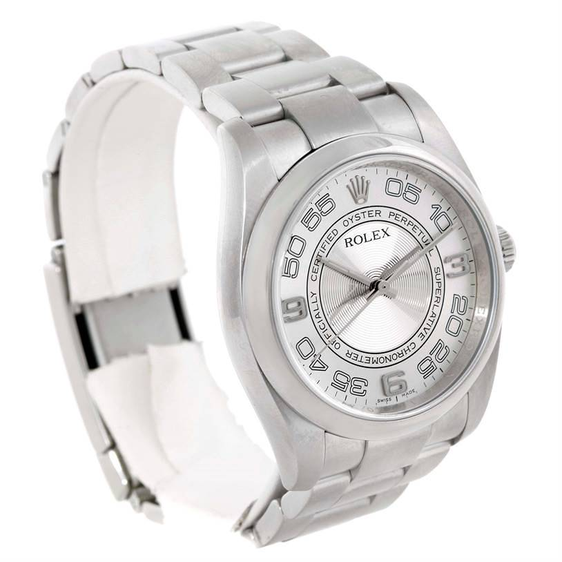 Rolex No Date Mens Silver Dial Stainless Steel Watch 116000 SwissWatchExpo