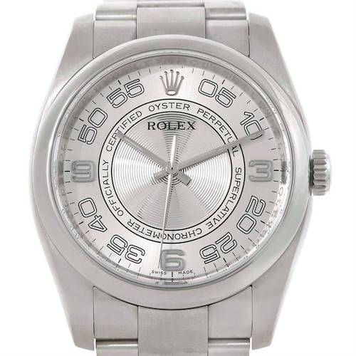 Photo of Rolex No Date Mens Silver Dial Stainless Steel Watch 116000