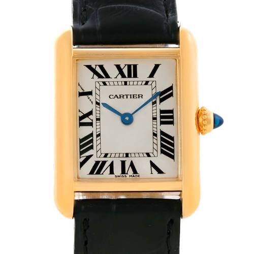 Photo of Cartier Tank Louis 18k Yellow Gold Black Strap Ladies Watch W1529856