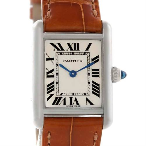 Photo of Cartier Tank Louis Small 18k White Gold Watch W154105 Box Papers