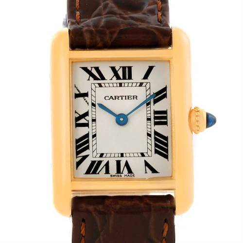 Photo of Cartier Tank Louis 18k Yellow Gold Brown Strap Small Watch W1529856